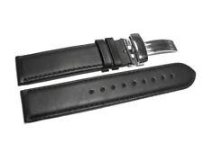 Uhrenarmband mit Kippfaltschließe - Glatt - schwarz - 18,20,22,24 mm