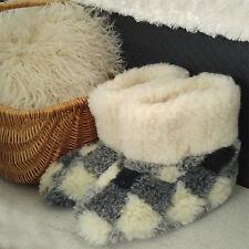 Merino de pura lana ovina Botas acogedor Pie Zapatillas Piel De Oveja Para Mujer Damas Rejilla