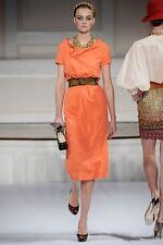 $1950! New Oscar de la Renta Coral Orange Crepe RUNWAY Midi  DRESS size 2 RARE!