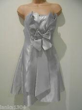 Vestido de fiesta mezcla de seda Karen Millen Plata largo hasta la rodilla (nuevo) tamaño de Reino Unido 10 (EU 38)