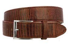 Mens Cognac Lizard Pattern Cowboy Belt Genuine Leather Western Buckle Cinto