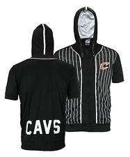 Zipway NBA Men's Cleveland Cavaliers Zip Up Short Sleeve Pinstripe Hoodie, Black
