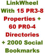Link Wheel w/15 PR3-8 Web 2.0 + 60 Article Directories + 2,000 Social Bookmarks