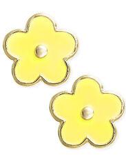 Babies 14K Solid Yellow Gold Yellow Enamel Flower Earrings with baby Screw Backs