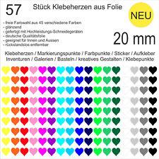 57 Stück Klebeherzen Herzen Folie glänzend 20 mm Aufkleber Herz Klebepunkte NEU