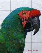 Parrot Tile Mural White Tropical Bird Art Ceramic Backsplash JWA030