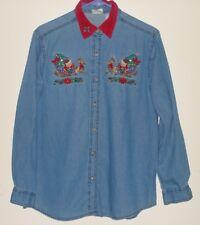 Bobbi Brooks Ladies Christmas Embroidered Denim Long Sleeve Shirt
