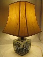 RARE VINTAGE TABLE LAMP Dartington Glass Frank Thrower with silk lamp shade