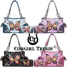 Western Style Butterfly Handbag Concealed Carry Purse Women Shoulder Bag Wallet