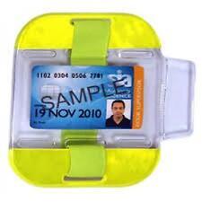 Bargain Security SIA badge holder armbands Hi viz Yellow, Black Blue Pink Colour