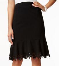 Nine West Spring Melody Black Stretch Ponte Lazer Cutout Scalloped Hem Skirt $79