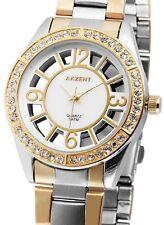 Akzent Damen Armbanduhr Bicolor Silber/Gold Metallarmband Strass Glasboden