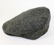 Authentic Harris Tweed Traditional Teflon Coated Blue Herringbone Wool Flat Cap