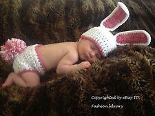 0-3 months Baby bunny costume boy Girl hat Photo Prop handmade crochet pom