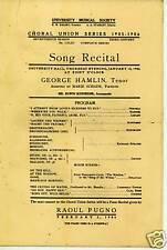 "1906 Tenor ""George Hamlin"" Ann Arbor Mi Recital Program"