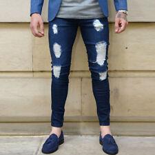 Herren Destroyed Zerrissene Jeans Slim Denim Hosen Röhrenjeans Stretch Jeanshose