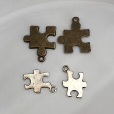 4  BRELOQUES PERLES - PIECES PUZZLE - 14X18 mm - 19X22 mm