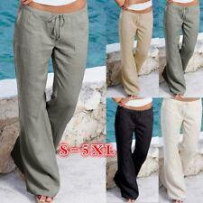 New Plus Size Women Fashion Linen Drawstring Casual Loose Beach Solid Long Pants