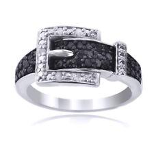 1/4ct Black & White Diamond Belt Buckle Ring In Sterling Silver