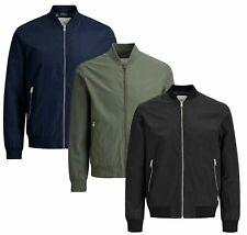Jack & Jones New Mens Bomber Jacket Zip Waterproof Windproof Coat Size XS - XXL