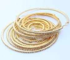2PCS Golden Extra Large Round Bling Rhinestone Diamante Shiny Hoop Earrings