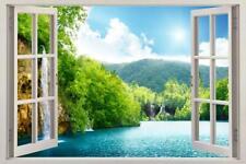 Forest Lake Scene 3D Window View Decal WALL STICKER Decor Art Mural H72