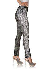 B.C. Damen Druckhose Leggings Hose Gummibund Polyester grün grau 059294