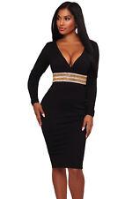 New Ladies Black Rhinestone Embellishment Bodycon Midi Dress 8 10 12 14 UK
