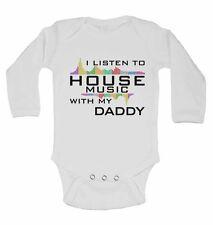 Io ascolto musica house con il mio papà-MANICA LUNGA BABY Gilet per Ragazzi, Ragazze