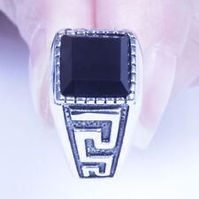 Men's Vintage Silver Stainless Steel Black CZ Harley Biker Ring Size 8-12 SR139