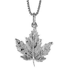 "Sterling Silver Maple Leaf Pendant / Charm, 18"" Italian Box Chain"