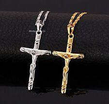 Jesús Cruz Colgante collar Auténtico Oro AMARILLO BAÑADO EN NEGRO Regalo
