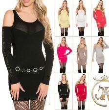 Koucla Minikleid Pulli Longpullover Pullover Sweater mit Cutouts und Strass