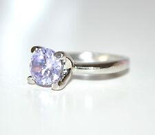 ANELLO fedina donna ragazza argento cristallo lilla fidanzamento strass E30