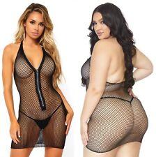 Black Fishnet Zip Up Mini Dress, Plus Size, Festival, 8-18, Sexy Beachwear