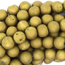 "Matte Gold Druzy Agate Round Beads Gemstone 15.5"" Strand 6mm 8mm 10mm 12mm 14mm"