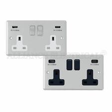 CROMATO LUCIDO CLASSICO 2 Gang Socket W / USB di Ricarica porti sbocchi punti