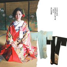 Japanese Kimono Yukata Dress Women Summer Floral Robe Haori Cosplay Costume Obi