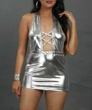 Girls Metallic Short Micro Mini Dress Women's Ladies Wet Look Deep Neck 528