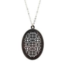 Cutout Filigree Oval Pendant Necklaces