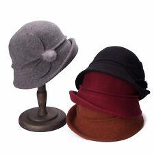 Womens Vintage Asymmetrical Upturn Brim Wool Cloche Bucket Winter Hats A474