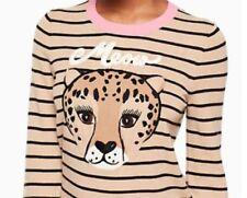NWT New Kate Spade Leopard Stripe Sweater Black / Beige NJMU8047 XXS to XL