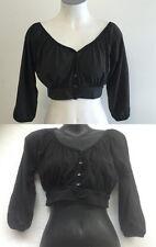 Ladies Ajoy 3/4 Sleeve Button Up Crop Top Blouse S,M,L Black,Grey Gypsy Boho