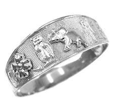 14k White Gold Lucky Owl, Elephant, Horseshoe, Thirteen, and Flower Ring