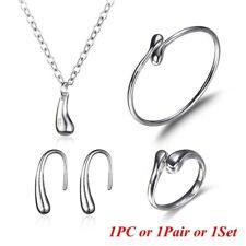 Necklace Ring Silver Open Bangle Earrings Tear Drop Bracelet Jewelry Set