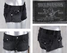 True Religion Jeans JOEY cut off super short shorts Black fox grey  WQ6G10EL