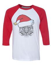 Unisex Christmas Tiger B1469 White/Red C5 Baseball T Shirt Xmas Santa Holiday