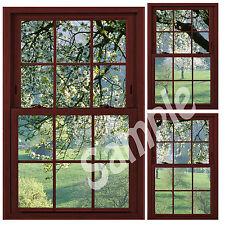 Faux - Fake Window Illusion - Cherrywood Frame - Cherry Blossom Trees 3 Views