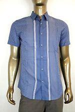 New Auth Gucci Mens Short Sleeve Shirt Skinny w/Stripes Dots Blue 324812 4203