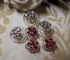 6 Swirl Hair Twists Clear Pink  Bridal Wedding Formal Flower girl